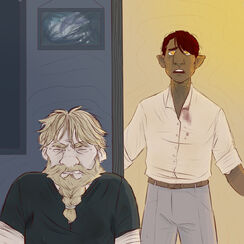 A digital drawing of Zolf, a white dwarven male, and Hamid, a brown halfling male. In front is Zolf, who is wearing a black shirt. His eyes are closed and his mouth is open in a grimace. His shoulder and tense. Behind him is Hamid, who is wearing a white button down shirt tucked into blue pants. His eyebrows knitted together and upwards. His mouth is open and in a frown. His arms are outstretched at his side.