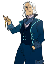 Coloured digital art of Wilde, shown from the thigh up. He is a white man with chin-length white hair and matching white eyebrows. He wears a blue, double breasted coat, unbuttoned. The cuffs of the sleeve are folded up and have the same curved pattern as the hem. the collar is flipped up. There are teal accents on the lapels, cuffs, buttons, and hem. The shirt has a high lace collar and a loose blue cravat is tied around his neck. Over the shirt is a dark blue, buttoned up vest, with the same teal buttons as his coat. His pants are a shade of blue lighter than the vest but darker than his coat. Wilde has one eyebrow quirked and is smiling. His left hand is in his trouser pocket, and his right hand is raised, holding a golden pocket watch. The background is white.