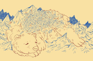 A digital sketch of the Ursans bear done in blue and brown colouring on a yellow background. The bear is massive and an entire city is built on its back. It lies sleepily across a large mountain range with a content look on its face.