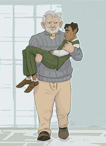 A digital Drawing of Zolf and Hamid. Zolf, a white Dwarven male has white hair and a white beard. He is wearing a grey knitted sweater and tan pants. He is looking down at Hamid, who he is carrying in his arms. Hamid is wearing a green vest with green pants and a long white sleeved shirt. He is sleeping in Zolf's arm with a smile on his face.