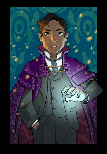Hamid, shown from the thighs up. He's an Egyptian halfling man with short wavy brown hair and brown eyes. He wears a green three-piece suit and elaborate purple robes with white embroidery. He stares straight ahead with a neutral expression, one hand in his pocket and the extended, producing light. The background is a blue and green design.