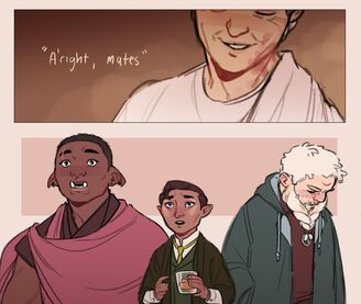 A two panel digital drawing. Above, a close up of Sasha, a white human woman, She has lines by her eyes and is wearing a toga. Her eyes are closed and she's smiling. She is looking down. The words beside her read: a'right mates. Below are Azu, a black orc woman, Hamid, a brown halfling, and Zolf, a white dwarvan male. Azu has her ears pointed down and eyebrows raised. Her eyes are wide and her mouth is agape. Next to her Hamid. He has a cup of whiskey in his hands. His eyebrows are raised and his eyes have tears in them. His mouth is agape. Next to them Zolf is looking down towards the ground and facing away. His hands are in the pocket of the hoodie he's wearing.