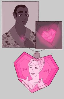 """A three panel digital drawing. First panel is of Azu, a black orc woman. She is in a flowery kimono. Her eyebrows are raised and her mouth is slightly open. She's looking down at her chest and pointing at a glowing pink heart shaped necklace. Next panel is a close of the necklace. It's glowing a very bright pink. Final panel shows the necklace with a bust of Aphrodite, the goddess of love. She is winking with one eyebrow raised and her hands are pointed in """"fingerguns"""". The word: good shown on the left, and the word: lovin' is on the right."""