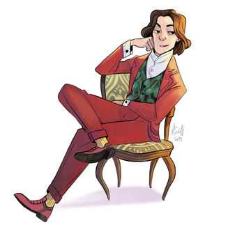 Wilde, a white human man with shoulder-length brown wavy hair. He wears a well-fitting red suit and shoes, a peacock vest, a white shirt, and yellow socks. He sits lounging on a yellow chair with a smirk.