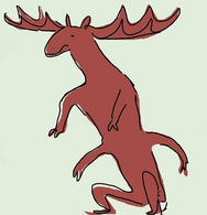 A sketch of a brown moose centaur against a pale green background. The moose is the top half, with two front paws, and the human half is the bottom half. The human half is crouching, and has both arms and legs.