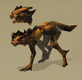 Stylized digital fanart of Hamid transformed into a dragon-like creature. He is a dark brown-black four-legged lizard-like creature. He appears to be walking forward. Above is a closeup of of his head, with his mouth open, revealing teeth. The background is beige.