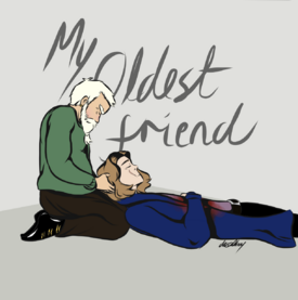 A digital drawing of Zolf and Wilde. Zolf, a white dwarf man with short white hair and a white beard, is wearing a green sweater and brown pants with black shoes. His eyes are closed and he is looking down with a pained expression. He is kneeling and holding Wilde's head in his lap. Wilde, a white human with medium length blond hair, is in a blue suit. There's a scar on the right side of his face. His eyes are closed and his arm is laying on his chest where there is a large blood stain. The top half of the background is a light grey while the bottom half in a slightly darker grey. Behind them in dark grey text reads My Oldest Friend.