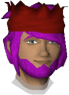 The chat head of Telmomarques in-game. He has long purple hair swept to one side, a purple beard, and he is wearing a red partyhat while smiling.