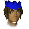 D uf sporting his favorite blue party hat