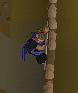 Jebrim, wearing an Agility cape, jumping off a wall