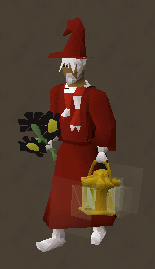 N0valyfe is facing to the side, wearing red robes, a red pointed hat, and a striped red and white scarf. He is holding black flowers in one hand, and a lantern in another. He has white hair, a white beard, and white boots.