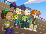 Tommy, Kimi, Chuckie, Susie at bleachers