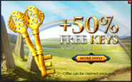 Treasure Hunter 50% extra keys promo (Rainbow's End)