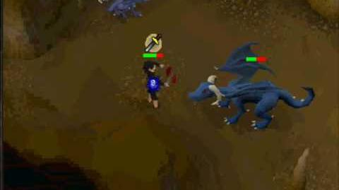 Runescape- Killing blue drag without antidragon shield or anti fire potion