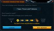 Change character name (bonds) interface