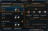 Voyage List interface