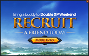 Recruit a Friend Double XP Weekend popup