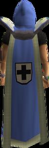 Hráč nosící Defence cape s lemováním.
