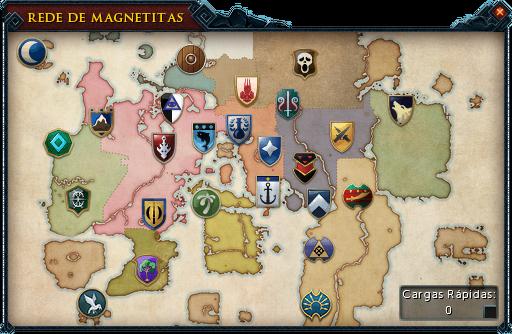 O mapa da Rede de Magnetitas. Clica num lugar para ver o artigo da wiki.