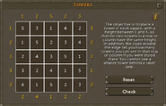 Towers puzzle scroll solution