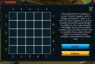 Towers puzzle scroll interface