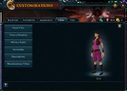 Customisations (Titles) interface