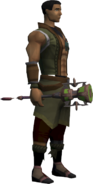 Ornate mace equipped
