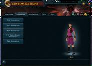 Customisations (Animations) interface