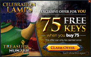 Treasure Hunter buy 75 get 75 promo (Celebration Lamps)