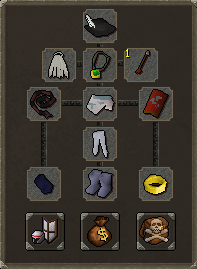 The equipment screen, when wearing various armour.