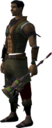 Off-hand ornate mace equipped
