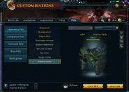Customisations (Pets) interface