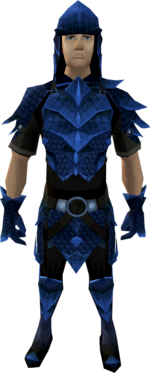 A player wearing blue dragonhide armour.
