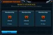 Redeeming a bond for membership package