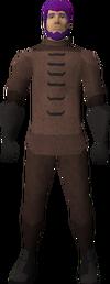 A male player wearing a plague set