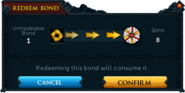 Redeeming a bond for spins confirmation