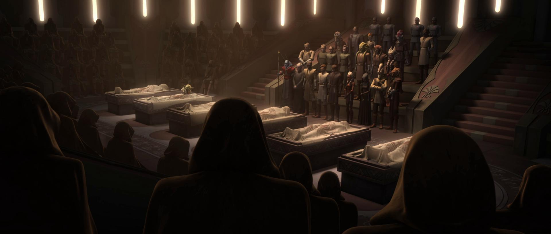 Похороны жертв взрыва в Храме джедаев/Канон