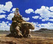 Rider atop lizard by Ron Cobb