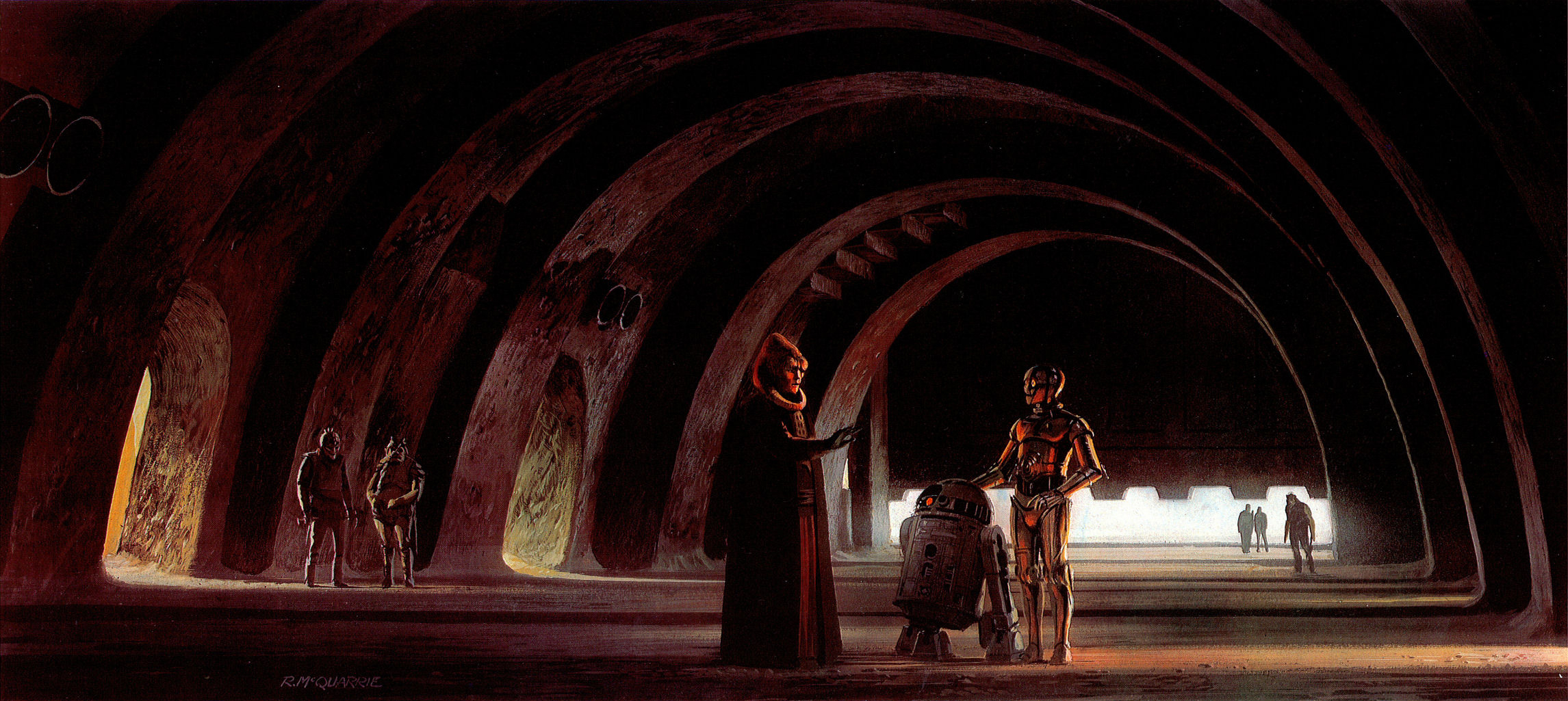 Droids in Jabbas palace hallway.jpg