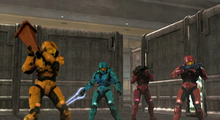 Grif, Tucker, Simmons & Sarge stand their ground.png
