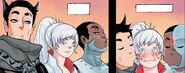 RWBY Justice League 7 (Chapter 14) Bruce and Victor give Weiss a kiss on the cheek