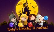 Crystal Match Halloween promotional material for Ruby's birthday