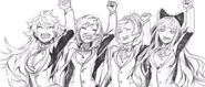 Manga sketch of Team RWBY by Shirow Miwa