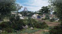 背後に高知城がそびえる土佐の町の風景
