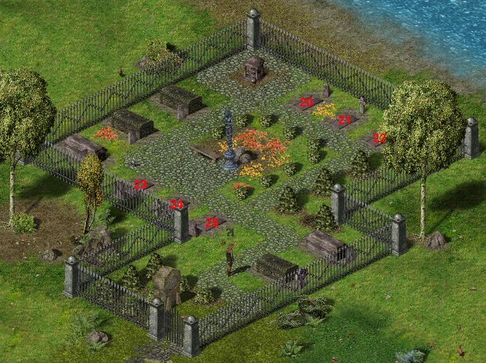 Кладбище Серебряного Ручья в игре. Цифрами обозначены могилы в том порядке, в котором они упомянуты ниже.