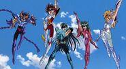 The five protagonists of Saint Seiya