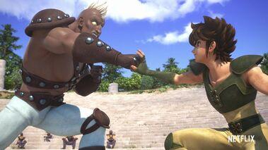 KotZ Netflix Seiya blocks Cassios' punch