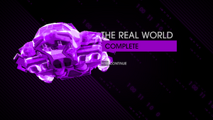 """""""The Real World"""" mission completion screen"""