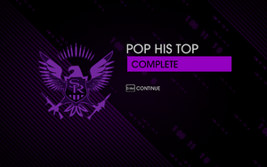 """""""Pop his Top"""" mission completion screen"""