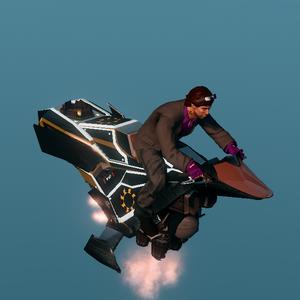 Playa riding the Ultor Interceptor in hover mode.
